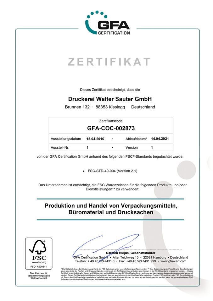 FSC-Zertifikat-Druckerei-Sauter